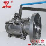 Amorçage DIN 3PC/robinet à tournant sphérique à flasque d'acier inoxydable d'extrémités