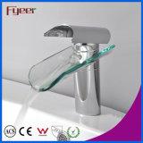 Golpecito de mezclador del agua del grifo de la colada del lavabo de Hole&Handle de la cascada de cristal de Fyeer solo