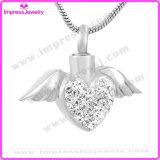L'angelo del cuore traversa il Keepsake volando Pendant delle ceneri del memoriale di cremazione di superficie di cristallo della collana dell'urna (IJD9770)