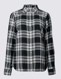 純粋な女性のための綿によって点検される長い袖のワイシャツ