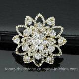 私達様式の金張りの水晶合金のブローチのコサージュPin (TB-025花)
