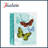 sacs de cadeau de papier de transporteur d'achats de modèle de Buttlefly du papier 210GSM en ivoire
