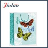 sac de papier stratifié mat de cadeau d'achats de Buttlefly du papier 210GSM en ivoire