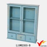 Cabina de pared de madera del almacenaje negro de la vendimia pequeña con las puertas de cristal