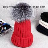 Chapeau tricoté de l'hiver avec la belle fourrure POM POM