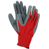 Rolo de poliéster vermelho com revestimento de látex revestido com luvas de trabalho