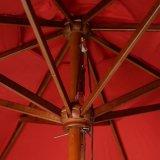 Parapluie en bois extérieur en bois de patio du rouge 10FT de jardin de café de plage de Pôle d'ombre de Sun