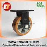 Spray-Lack Schwarz-örtlich festgelegte Fußrolle mit PU-Rad-Aluminium-Mitte