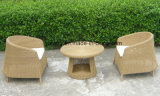 Jeu de café imperméable à l'eau extérieur de meubles de jardin de petit rotin rond avec la présidence empilable (YT121)