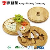 Placa de bambu do queijo do giro ajustada com faca
