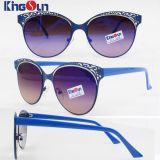Cinzelar Metal Óculos de sol dos testes padrões da senhora com templo do PC (KS1228)