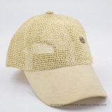 品質のわら6のパネルの野球の夏の帽子、ヴェルクロ最後の裏側