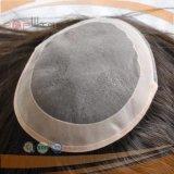 Toupee enduit de partie de cheveu de cadre d'unité centrale de longueur de Mens d'avant mono court de lacet