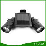 Sensor de monção de LED de cabeça dupla ajustável de ângulo com foco solar Luz de parede exterior alimentada por energia solar para garagem de portão