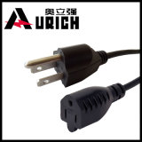 Elektrisches Verkabelungs-Netzanschlusskabel, USA-NEMA-Typ 3 Zinke-Stecker, Extensions-Kabel