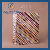 Silk Handle (CMG-MAY-030)를 가진 주문을 받아서 만들어진 Strip Printing Cosmetic Paper Bag