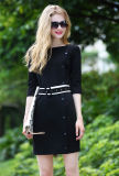 Женщины Side Одиночное-Breasted Fashion Black Dress с Belt