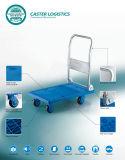 camion di mano senza rumore blu della piattaforma 150kg che piega carrello di plastica