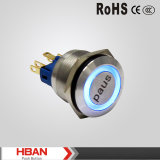 O UL do Ce Waterproof o interruptor de tecla do metal do diodo emissor de luz Illuninated do azul de 25mm