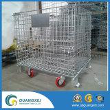 Envase empilado metal plegable del acoplamiento de alambre con las ruedas