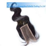 Frontal baixo de seda louro superior natural do laço do fechamento de 100% mono