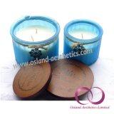 Candele profumate della cera della soia di vetro glassato dell'attrezzo con le candele di legno del regalo del coperchio