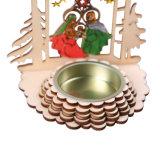 De houten Houder van de Kaars met de Scène van de Geboorte van Christus voor het Decor van Kerstmis of het Decor van het Huis in Voorraad