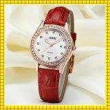 Het originele Horloge van de Diamant van het Leer van de Dekking van het Roestvrij staal van de Beweging van het Kwarts Waterdichte