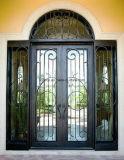 Elegante quadratische Spitzeneisen-Eintrag-Tür mit Sidelights