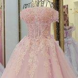 Encantando uma linha vestido de casamento de Justin Alexander do comprimento do assoalho do laço da luva do Short da colher (HS039)