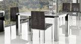 Moderner preiswerter quadratischer ausgeglichenes Glas-Spitzenspeisetisch mit Edelstahl (NK-DT020)