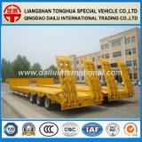 rimorchio giallo di 3-Axles Lowboy semi con la rampa
