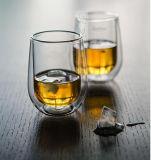 Tasse en verre de l'eau de double whiskey fabriqué à la main de mur pour le grossiste
