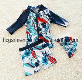 Terno de natação para miúdos, camisas da natação T do menino e calças