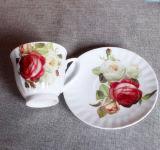 Copo de café gravado de Porelain do estilo flor européia