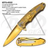 """faca Ti-Revestida do assistente da mola do aço inoxidável do ouro de 4.5 """" Rosa"""