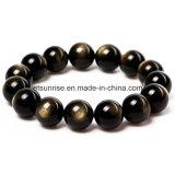 Moda de oro negro de obsidiana joyas de piedras preciosas con cuentas de pulsera