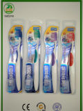 Doppelte Blase mit glänzender Karte mit Schutzkappen-Erwachsen-Zahnbürste