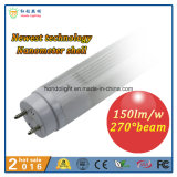 2016 Hete Sale 1200mm 18W Nanometer 150lm/W 270 Degree Beam Angle LED T8 Tube Light