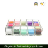 Vela perfumada de cubo en vidrio transparente