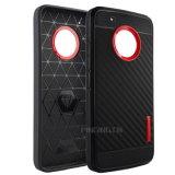 Motorola Moto E4/E4のための耐久カーボンファイバーTPUの電話箱と