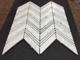 Carrara 백색 대리석 큰 Chevron는 작은 Chevron 디자인 마루 도와를 섞었다