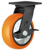 Hochleistungs-PU-Fußrolle (orange) (runde Oberfläche)