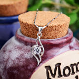 Colar do pendente da pena do anjo da prata esterlina das mulheres 925 com corrente