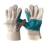 Met rubber bekleed Manchet Versterkt Goedgekeurd Ce van de Handschoen van het Werk van de Koe van de Palm Gespleten