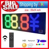 "LED 표시 RGB 39 "" X14 "" 원격 제어 풀그릴 두루말기 옥외 메시지 발광 다이오드 표시는 7개의 색깔 전보국을 연다"