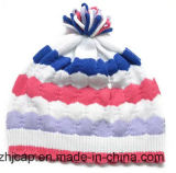 POM POM 자카드 직물 모자 베레모 모자 아이에 의하여 뜨개질을 하는 모자