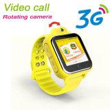 drehende Aufruf-Kind GPS-Verfolger-Uhr der Kamera-3G video