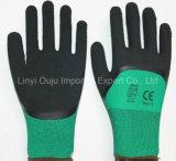 塗られる泡乳液が付いている卸売13のゲージポリエステル安全手袋