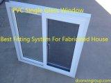 Weiße Farbe UPVC schiebendes Windows (fabriziertes Haus), amerikanisches schiebendes Fenster der Art-UPVC mit Moskito-Netzen